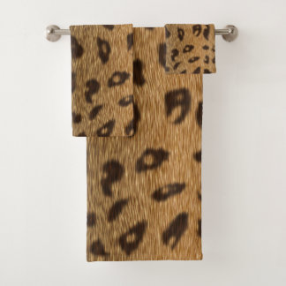 Faux Leopard Spots Fur Bath Towel Set