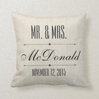 Faux Linen canvas textile burlap Wedding Pillow
