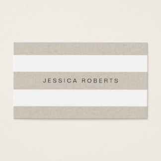 Faux Linen Classic Stripes Pattern Modern Business Card
