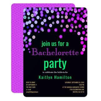 Faux Magenta Confetti Bachelorette Hen Party Card