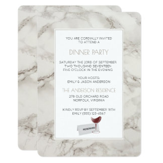 Faux Marble Alabaster Modern Dinner Party Invite