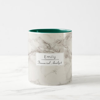 Faux Marble Alabaster Taupe Tan Modern Custom Two-Tone Coffee Mug