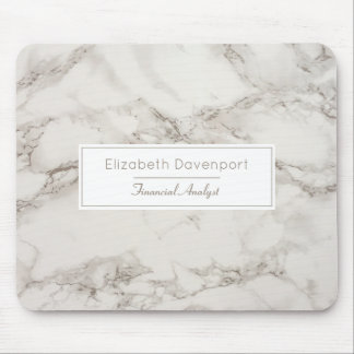 Faux Marble Alabaster Taupe Tan Modern Mouse Pad