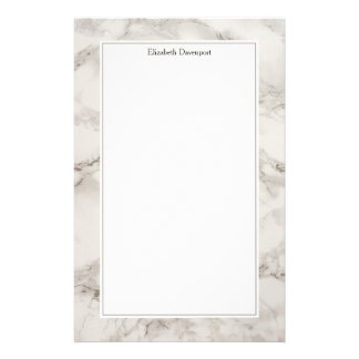Faux Marble Alabaster Taupe Tan Modern Stationery