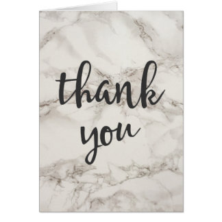 Faux Marble Alabaster Taupe Tan Modern Thank You Card