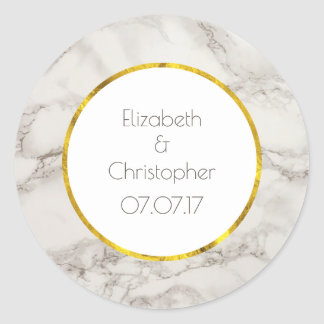 Faux Marble Alabaster Taupe Tan Modern Wedding Classic Round Sticker