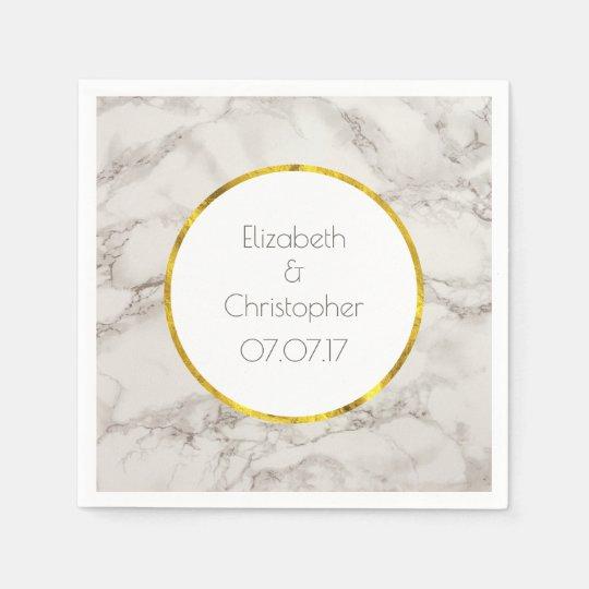 Faux Marble Alabaster Taupe Tan Modern Wedding Disposable Napkin