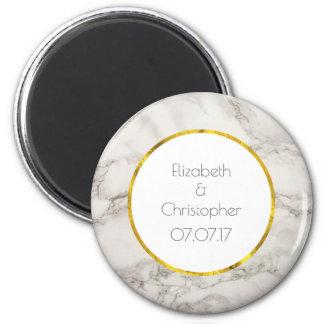 Faux Marble Alabaster Taupe Tan Modern Wedding Magnet