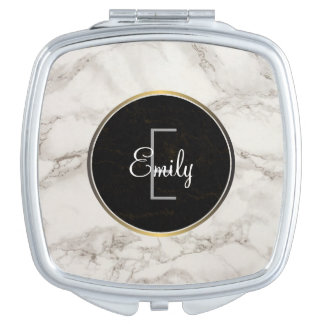Faux Marble Alabaster Taupe Tan Monongram Compact Mirror