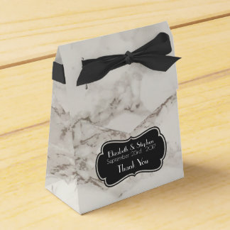 Faux Marble Alabaster Taupe Tan Wedding Thanks Favor Box