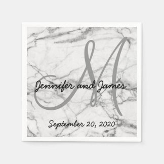 Faux Marble Grey Monogram Names Wedding Napkin
