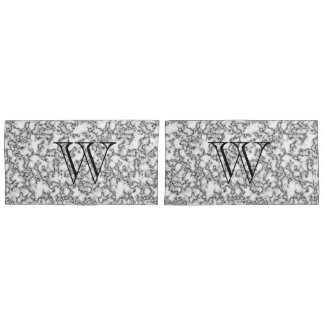Faux Marble Monogram Custom Pillow Case Set