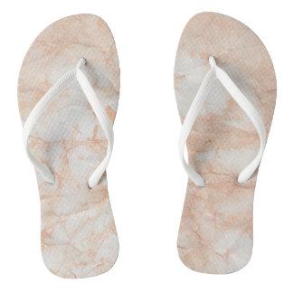 Faux Marble Peach White Flip Flops