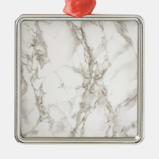 (faux) marble - sophisticated trendy beautiful Silver-Colored square ornament