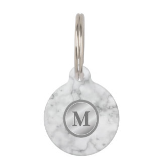 Faux Marble Texture With Monogram And Pet's Info Pet Tag