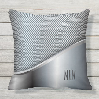 Faux Metal custom monogram throw pillows