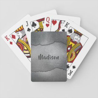 Faux Metal custom name playing cards