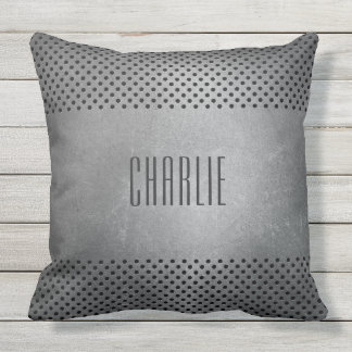 Faux Metal Pattern custom monogram throw pillows