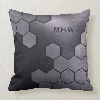 Faux Metal Pattern custom monogram throw pillows