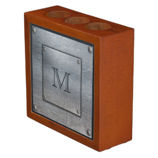 Faux Metal Plate custom monogram desk organizer