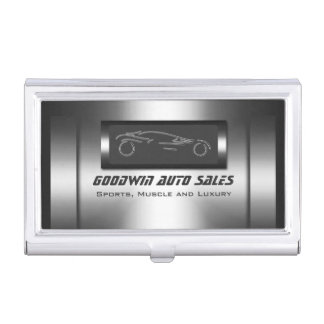 Faux metal, silver auto - Auto Sales Business Card Holder