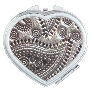 Faux Metallic Paisley compact mirror