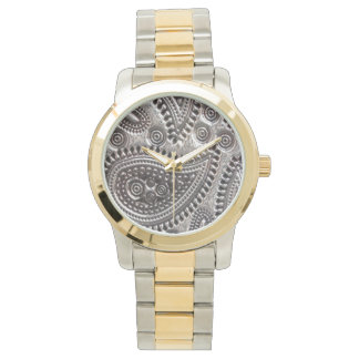 Faux Metallic Paisley Womens watch