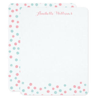 "Faux Mint and Pink Glitter Confetti Notecards 4.25"" X 5.5"" Invitation Card"