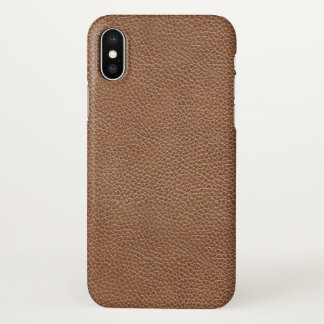 Faux Natural Brown Leather iPhone X Case
