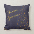 Faux Navy Blue Burlap and Gold Star Christmas Tree Throw Pillow