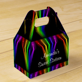 Faux Neon Lights, Sweet Sixteen, Birthday Party Favor Box