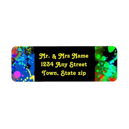 Faux, Neon Paint Splatter, Custom Return Address Label
