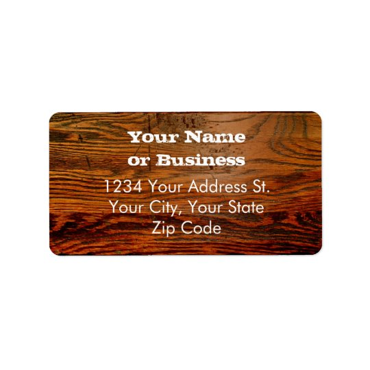 Faux Oiled Wood Plank Personalized Custom Label