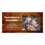 Faux Oiled Wood Plank Personalized Custom Photo Card Template