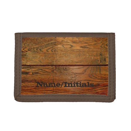 Faux Oiled Wood Plank Personalized Custom Tri-fold Wallets