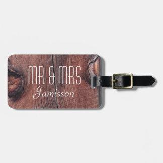 Faux Old Red Barn Siding MR & MRS Custom Luggage Luggage Tag