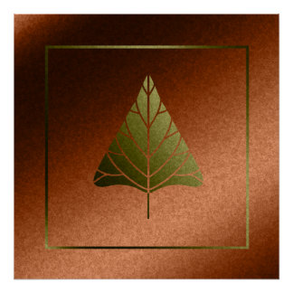 Faux Orange and Gold Foil Abstract Tree Poster