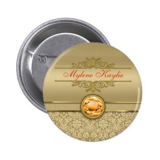 Faux Orange Topaz Gemstone Metallic Gold Damask 2 Inch Round Button