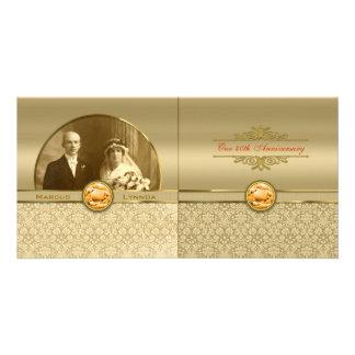 Faux Orange Topaz Gemstone Metallic Gold Damask Photo Cards