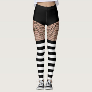 Faux OTK BW Striped Socks Fishnet Leggings