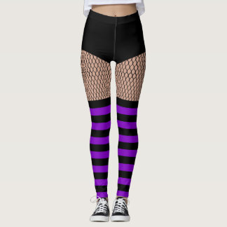 Faux OTK Purple Striped Socks Fishnet Leggings