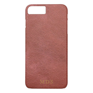 Faux Oxblood Leather Look Gold Initials Red iPhone 8 Plus/7 Plus Case