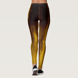Faux Painted Gold and Glitter On Black Leggings