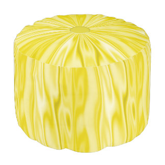 Faux Pastel Yellow Satin Look of Luxury Pouf