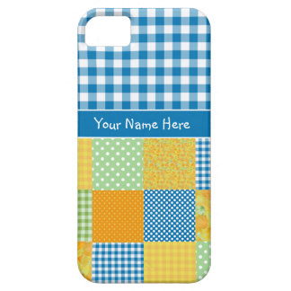 Faux Patchwork and Blue, White Check Gingham iPhone 5 Case