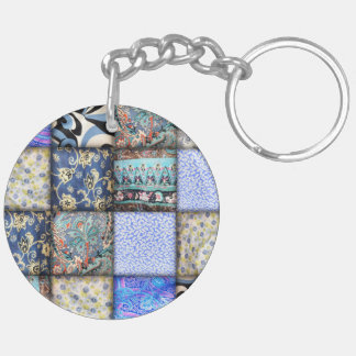 Faux Patchwork Quilting - Blue Double-Sided Round Acrylic Keychain