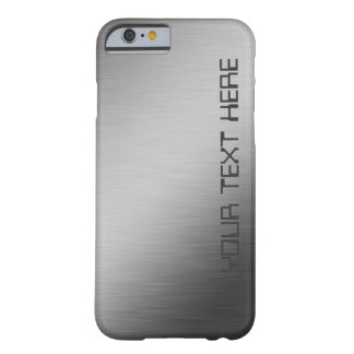 Faux Personalized Brushed Metal Look Barely There iPhone 6 Case