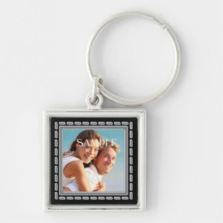 Faux Pewter Ornate Frame Template Silver-Colored Square Keychain