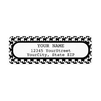 Faux pie-De-poule avec l'adresse de retour label1 Étiquette D'adresse Retour