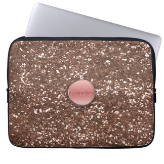 Faux Pink 3D Rose Gold Glitter Laptop Sleeve